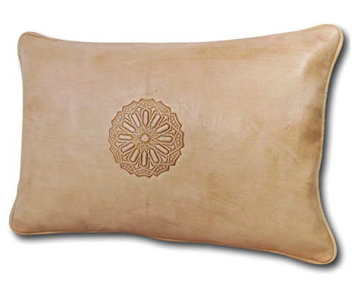 ALMADIH Lederkissen XL 50x35 cm weiß creme - 100% traditionelle Handarbeit aus Lammleder - echt...