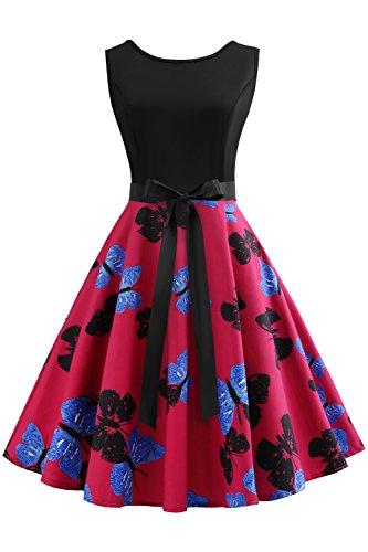Misshow Damen Vintage 50er Schmetterling Rockabilly Swing Kleider Faltenrock Plissee Abschlussball Kleider