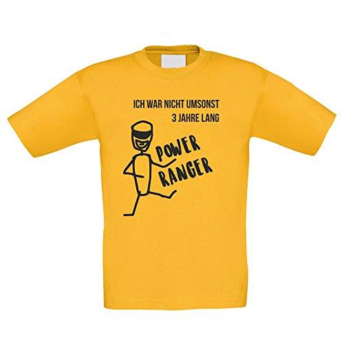 Kinder T-Shirt - Ich war nicht umsonst 3 Jahre lang Power Ranger - von SHIRT DEPARTMENT, gelb-schwarz, (Gelb Kostüme Power Ranger)