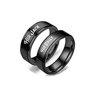 AmDxD Edelstahl Paar Ringe, 2 PCS Ringe Gravur His Sally & Her Jack Eheringe Verlobungsringe