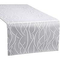 Tischläufer, FARBE wählbar, Streifen Tischband, einfach genäht, ECKIG 40x200 cm, Silber, Beautex