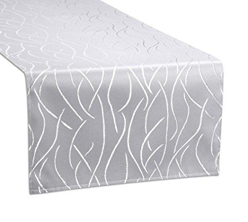 Tischläufer, FARBE und GRÖßE wählbar, Streifen Tischband, eckig 40x140 cm, Silber, Beautex