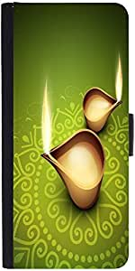 Snoogg Beautiful Illuminating Diya Background For Hindu Community Festival Diwali Designer Protective Phone Flip Case Cover For Vibe K4 Note