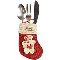Lenfesh Xmas vaisselle vaisselle fourchette Bag-Chaussette de Noël-des sacs de bonbons (C)