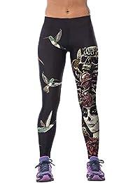 1615f24fac6 Leslady Femme Legging de Sport Slim Pantalon Elastique 3D Imprimé Fantaisie  Yoga Sportswear
