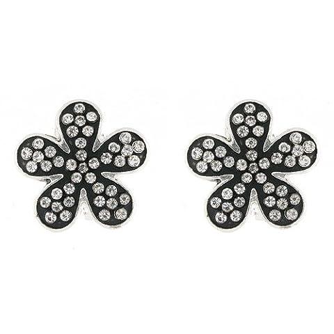 Clip On Earrings Store Ohrclips Emaille schwarz & Klar Kristall Daisy Clip auf Ohrringe