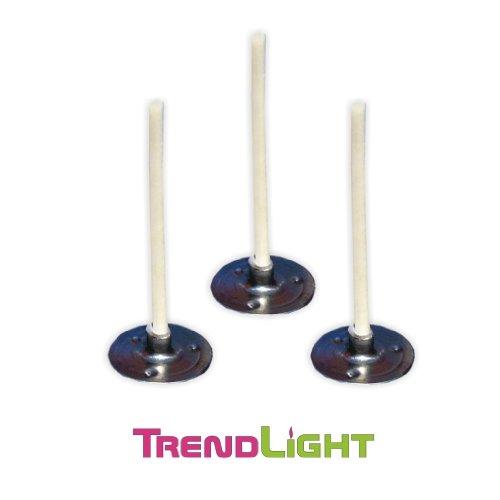 TrendLight  Kerzendochte -Teelichtdochte mit Fuß gewachst 10 Stück 35 mm - Teelichtdocht