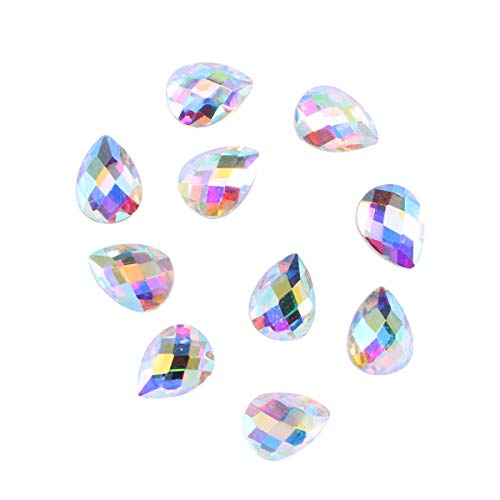 Lurrose 10pcs résine cristal ab rond ongles strass gemmes dos plat strass charmes de verre pour ongles artisanat (6x8MM)