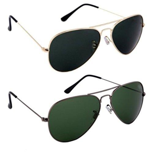 Xforia Black & Green Aviator Combo Sunglasses for Men & Women (Pack of 2)
