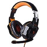 CSZH Game Gaming Kopfhörer Headset Kopfhörer Stirnband mit Mikrofon Stereo Bass LED-Licht für Xbox One PC Laptop Tablet Mac Smartphone (Orange)