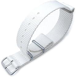 MiLTAT 20mm G10 Military NATO Watch Strap, Waffle Nylon Armband, Brushed, White