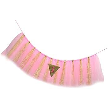 663a7ba7cfc44 MagiDeal Jupe Tutu à Chaise Haute Bébé Tulle Brillant Motif Triangle  Décoration Anniversaire 1 An Fille Garçon - Rose Or