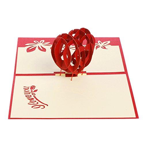 Yifeict cuore 3d biglietto di auguri pop up paper cut cartolina compleanno regalo per san valentino, festa