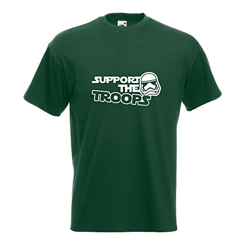 KIWISTAR - Support the Troops T-Shirt in 15 verschiedenen Farben - Herren Funshirt bedruckt Design Sprüche Spruch Motive Oberteil Baumwolle Print Größe S M L XL XXL Flaschengruen