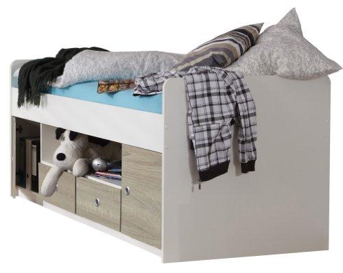 Wimex Bett/ Doppelbett Jalta, 2 Schubladen, 2 Türen, Liegefläche 90x200 cm, Weiß/ Absetzung Eiche Sägerau