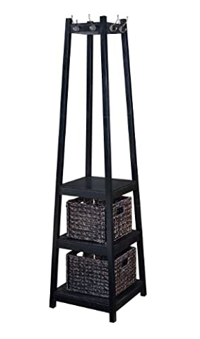 H2O Coat Rack Tower Free Standing with 2 Storage Baskets, 72-Inch, Espresso