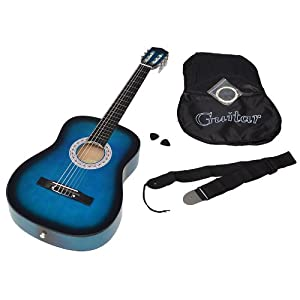 ts-ideen 5265 - Chitarra classica con custodia, corde, plettri e tracolla, colore: Blu/Nero