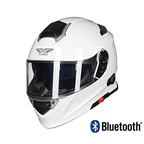 MMRLY Bluetooth-Helm-Vollmaske für Motocross, modularer Motorrad-Bluetooth-Helm mit ECE-Zertifizierung und automatischer Stereo-Fernglas-Schutzlinse,XXL Ge-intercom-system