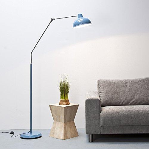 Lampe moderne au design rétro hauteur 190 cm, en métal chromé Rétro bleu