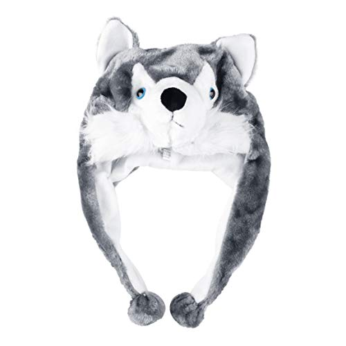 73JohnPol Cartoon Tier Stil Wolf Hut niedlichen Flauschigen Kinder Mütze weichen warmen Schal Ohrenschützer Plüsch Hut Maskottchen Huskies Hut (Farbe: weiß und grau)