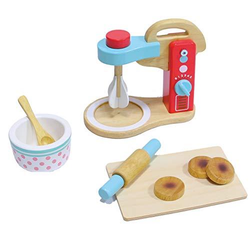 Mentari Mixer Set Küchenmaschine aus Holz mit Nudelholz UVM