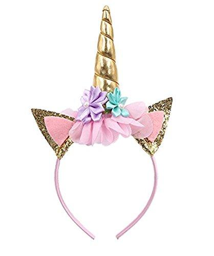 Scopri offerta per Cerchietto con corno di unicorno, con orecchie con glitter e fiori, decorazione per feste o travestimenti in occasione di cosplay, colore: oro