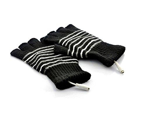 Stripe Pattern USB2.0con calefacción guantes sin dedos de calefacci