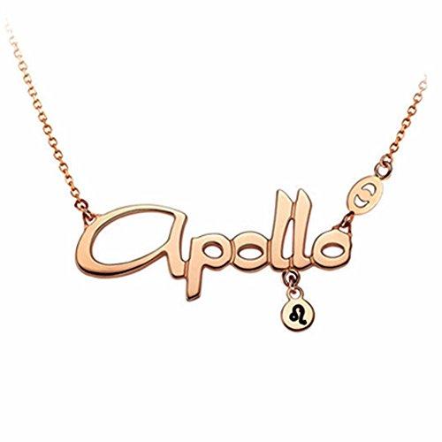 AanYuAan Einfache Und Frische Wilde Rose Gold Anhänger Alphabet 12 Konstellationen Titanium Steel Halskette,Leo
