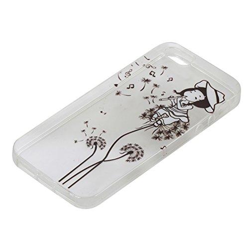 iPhone SE Hülle,iPhone 5S Case,iPhone 5 Silikon Cover Felfy Ultra Dünne Slim Full Body Soft Gel TPU Silikone Case Lichtdurchlässig Transparent mit Schöne Bunte Muster Malerei Design Case Rückschale Sc Löwenzahn -Mädchen Case