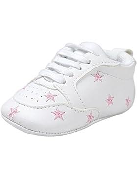 FNKDOR Baby Sternchen Schuhe Jungen Mädchen Weiß Lauflernschuhe Krabbelschuhe, 0-18 Monate