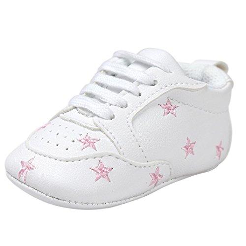 FNKDOR Baby Sternchen Schuhe Jungen Mädchen Weiß Lauflernschuhe Krabbelschuhe, 0-18 Monate (12-18 Monate, Pink)