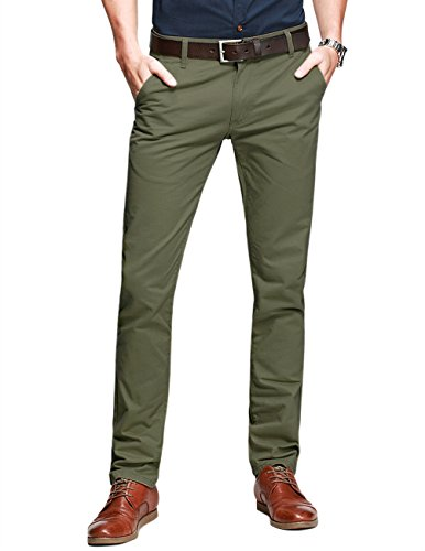 match-mens-slim-tapered-flat-front-casual-trouserslight-army-greenw34-x-regular