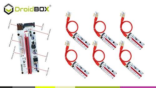 6-Pack PCIe VER 006C 16x bis 1x Powered Riser Adapterkarte mit 60cm USB 3.0 Verlängerungskabel & 6-Pin PCI-E zum SATA Netzkabel - GPU Riser Adapter - Ethereum Mining ETH