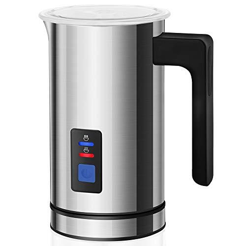 Espumador de leche electrico KYG Batidor de leche para espuma fría, caliente y calentación Apagamiento automático Espumador de cafe Latte Cappuccino Capacidad de 115ml / 240ml 500W