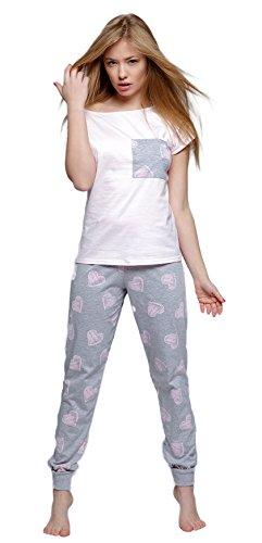 Sensis niedlicher Pyjama/Schlafanzug mit angesagtem Herz-Print und koketter Brustasche aus 100% Baumwolle, grau/rosa, Gr. L (Capri-baumwoll-overalls)
