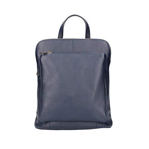 OBC Made in Italy Damen echt Leder Rucksack Daypack Lederrucksack Tasche Schultertasche Ledertasche Handgepäck Nappaleder (Dunkelblau 25x30x11 cm)