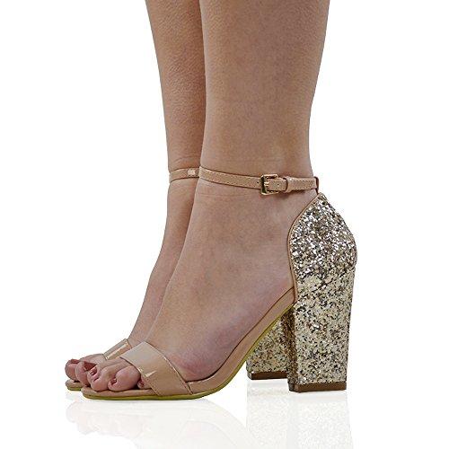 ESSEX GLAM Damen Blockabsatz Glitzer Sandalen Synthetik Knöchelriemchen Schuhe Hautfarbe Kunst Lackleder