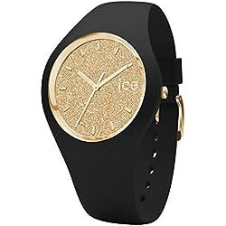 Ice-Watch - Ice Glitter Black Gold - Montre Noire pour Femme avec Bracelet en Silicone - 001348 (Small)