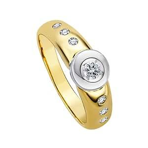 Diamond Line Damen - Ring 585er Gold 7 Diamanten ca. 0,25 ct, gelbgold