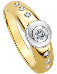 Diamond Line Damen - Ring 585er Gold 7 Diamanten ca. 0,25 ct., gelbgold