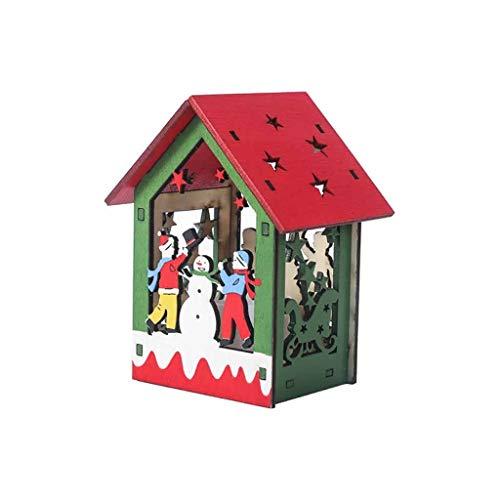 Mitlfuny Festival dekor,Christmas,Halloween,Weihnachtsdekoration,Halloween deko,Halloween kostüm,LED-Licht-Holzhaus-Nette Weihnachtsbaum-hängende