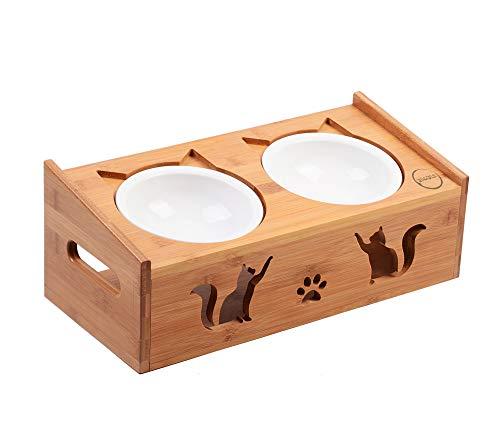 DIVADIS Comedero Alimentación Gato | Elevado Bambú