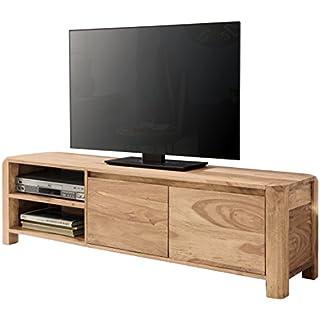 WOHNLING Lowboard Massivholz Akazie Kommode 140 cm TV-Board Ablage-Föcher Landhaus-Stil dunkel-braun Unterschrank TV-Möbel Echt-Holz 40 cm hoch Sideboard Deko Fernsehschrank offen Natur-Produkt