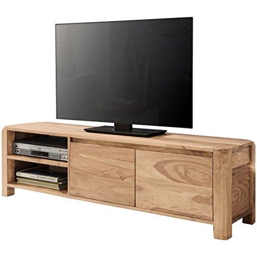 fernsehmoebel holz WOHNLING Lowboard Massivholz Akazie Kommode 140 cm TV-Board Ablage-Föcher Landhaus-Stil dunkel-braun Unterschrank TV-Möbel Echt-Holz 40 cm hoch Sideboard Deko Fernsehschrank offen Natur-Produkt