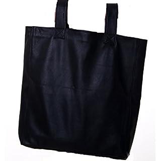Leder Rucksacktasche und Tragetasche in Einem schwarz Rindsleder