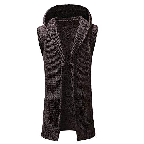 Herren Hoodie Weste,TWBB Warme Einfarbig Strickpullover Pullover Kapuzenpullover Trenchcoat Cardigan Coat Mantel Outwear Lange Ärmel Hemd