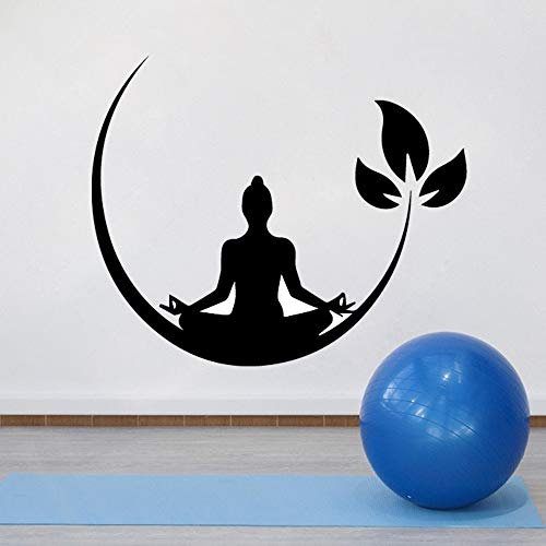 WWYJN Yoga Buddhism Zen Wall Decal Bedroom Removable Wall Sticker Decoration Blue XL 58cm X 70cm