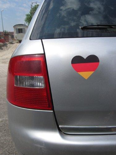 Deutschland Fahne/Flagge Herz (ca. 12 cm x 10 cm), EM 2016 , Auto Folie, Motorrad, PKW, Autoaufkleber