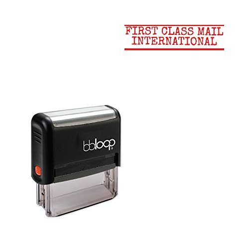 'FIRST CLASS MAIL INTERNATIONAL' Self-Inking Office Stamp, Rectangular Typewriter Style