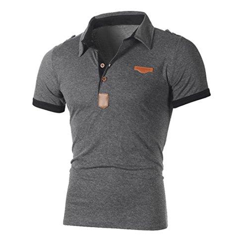 Herren T shirt Btruely Kurzarm Hemden Herren Slim Fit Shirt Freizeit Polo Shirt Brief Shirt Herren Kurzarm Sport Tee Männer T Shirt Kurzarmhemde Tops (Asia Größe L, Grau)